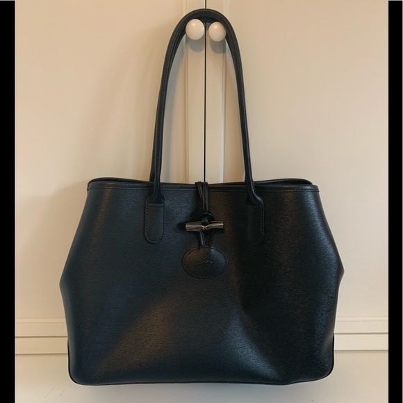 Longchamp Roseau Large Leather Tote Black/Red